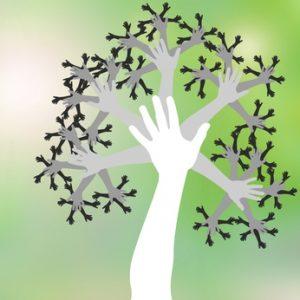 arbre mains, symbole de vie, travail en quipe